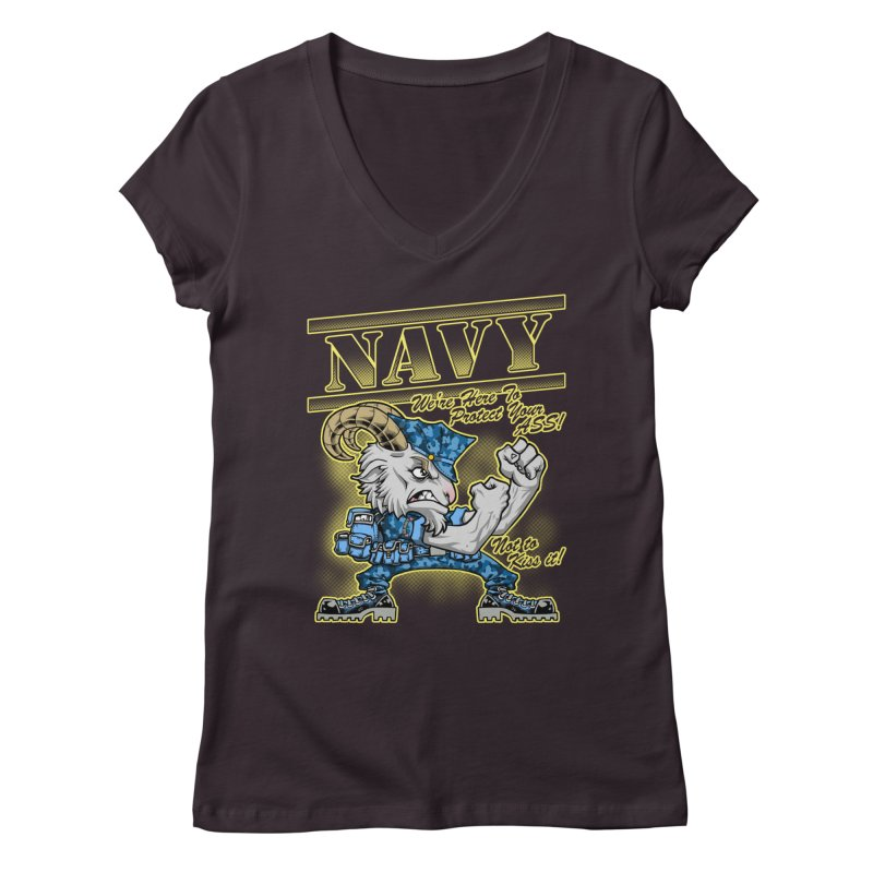NAVY GOAT! Women's V-Neck by Inkdwell's Artist Shop