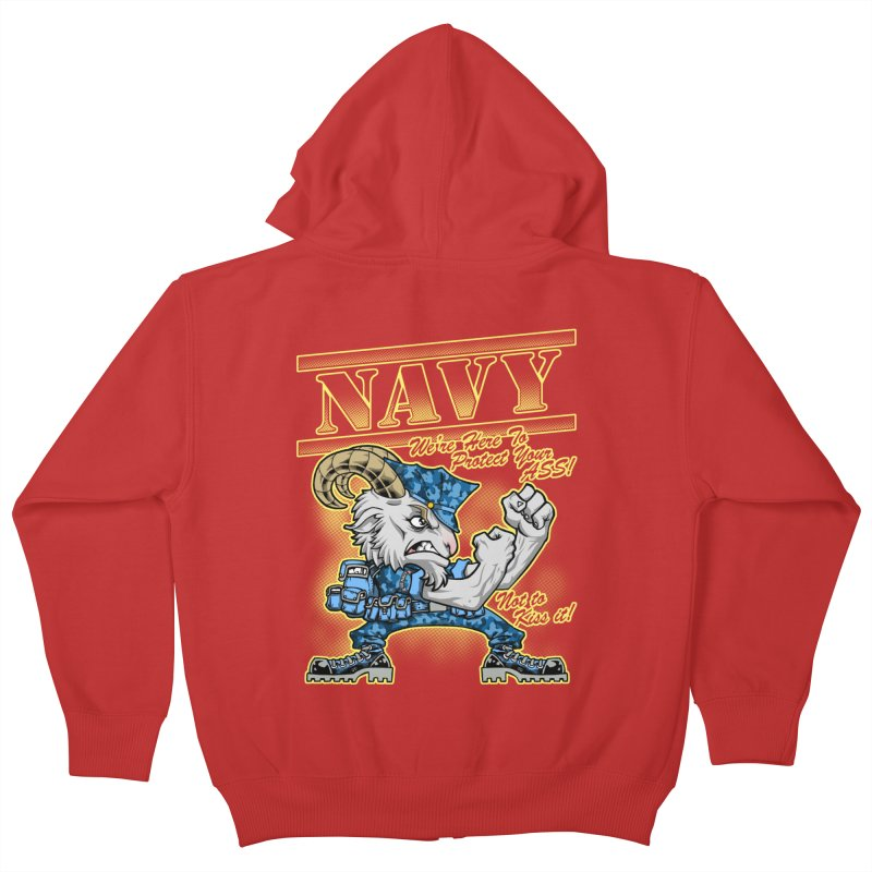 NAVY GOAT! Kids Zip-Up Hoody by Inkdwell's Artist Shop