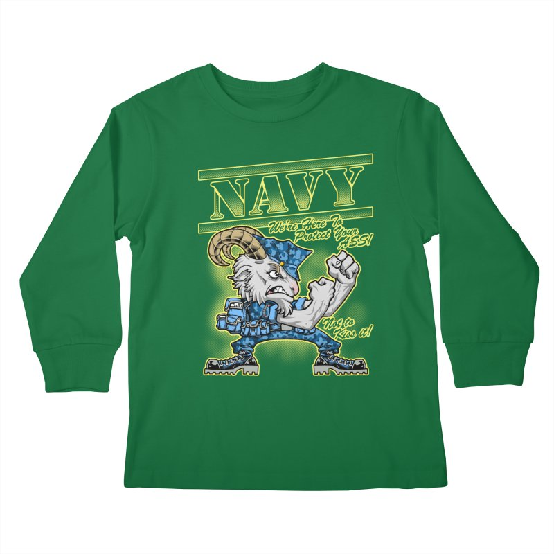 NAVY GOAT! Kids Longsleeve T-Shirt by Inkdwell's Artist Shop
