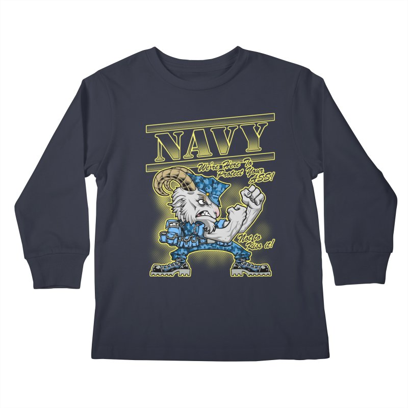 NAVY GOAT! Kids Longsleeve T-Shirt by Inkdwell's Artist Shop