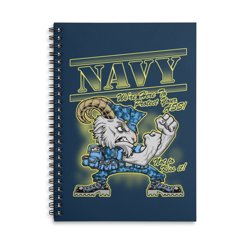 NAVY GOAT! Accessories Lined Spiral Notebook by Inkdwell's Artist Shop