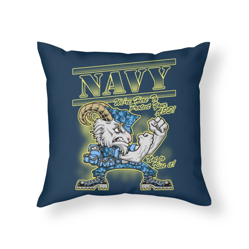 NAVY GOAT! Home Throw Pillow by Inkdwell's Artist Shop