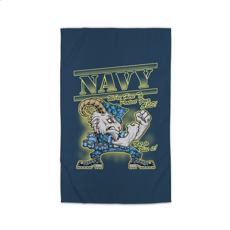 NAVY GOAT! Home Rug by Inkdwell's Artist Shop