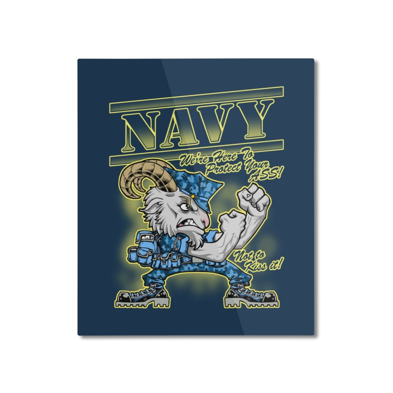 NAVY GOAT! Home Mounted Aluminum Print by Inkdwell's Artist Shop
