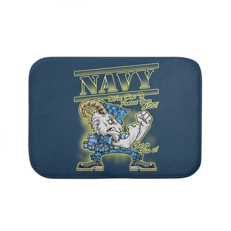 NAVY GOAT! Home Bath Mat by Inkdwell's Artist Shop
