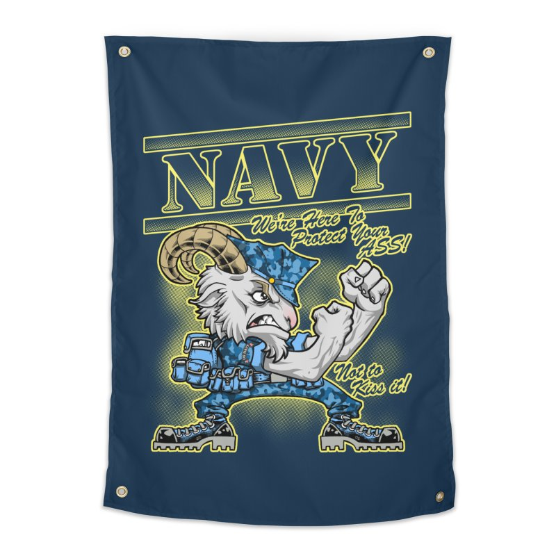 NAVY GOAT! Home Tapestry by Inkdwell's Artist Shop