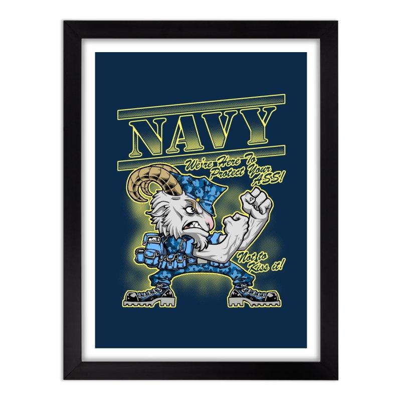 NAVY GOAT! Home Framed Fine Art Print by Inkdwell's Artist Shop