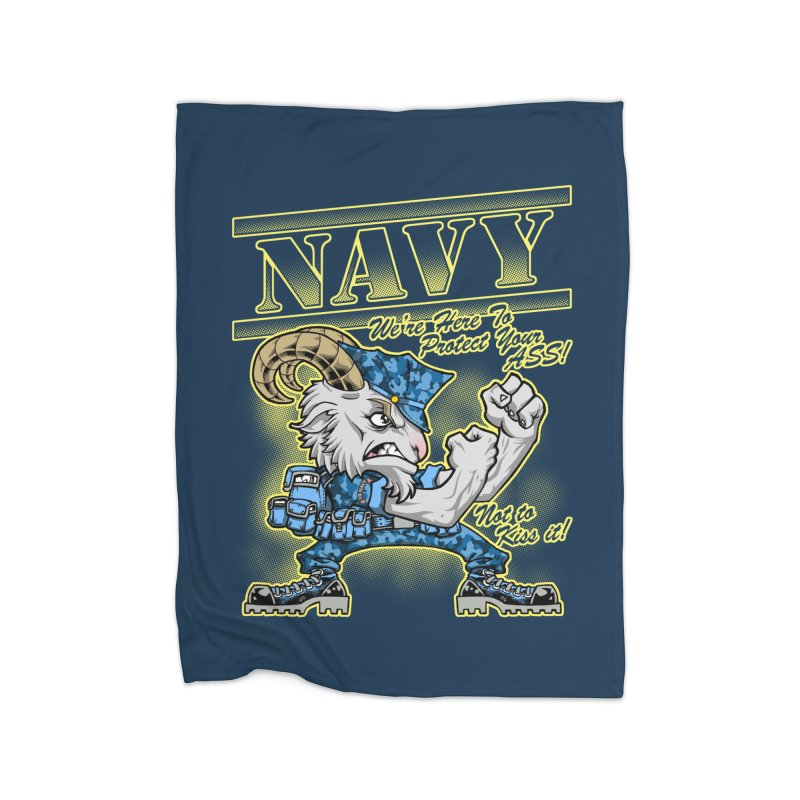 NAVY GOAT! Home Fleece Blanket Blanket by Inkdwell's Artist Shop