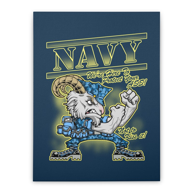 NAVY GOAT! Home Stretched Canvas by Inkdwell's Artist Shop