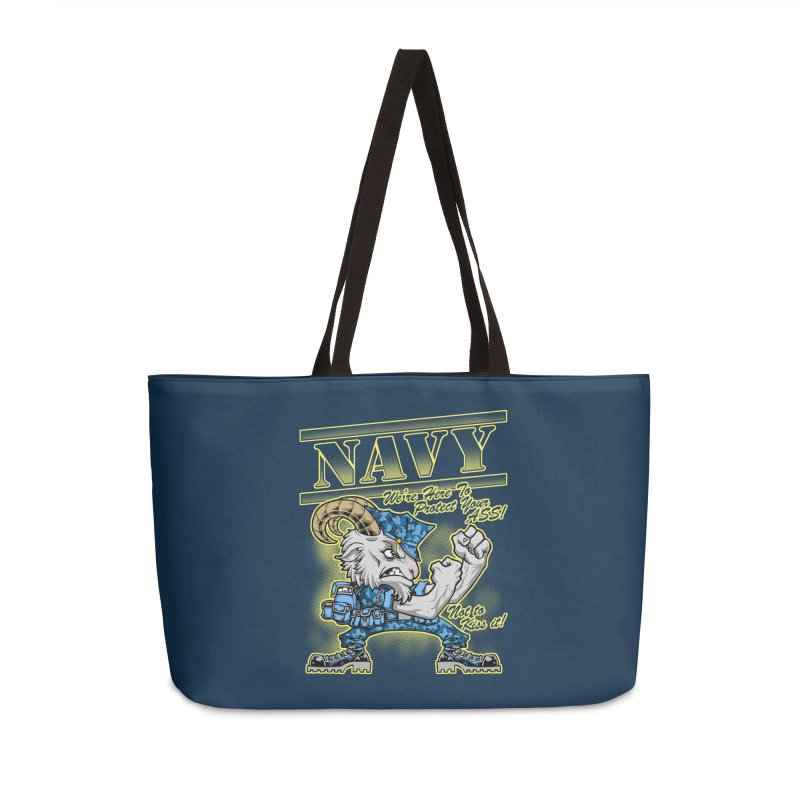 NAVY GOAT! Accessories Weekender Bag Bag by Inkdwell's Artist Shop