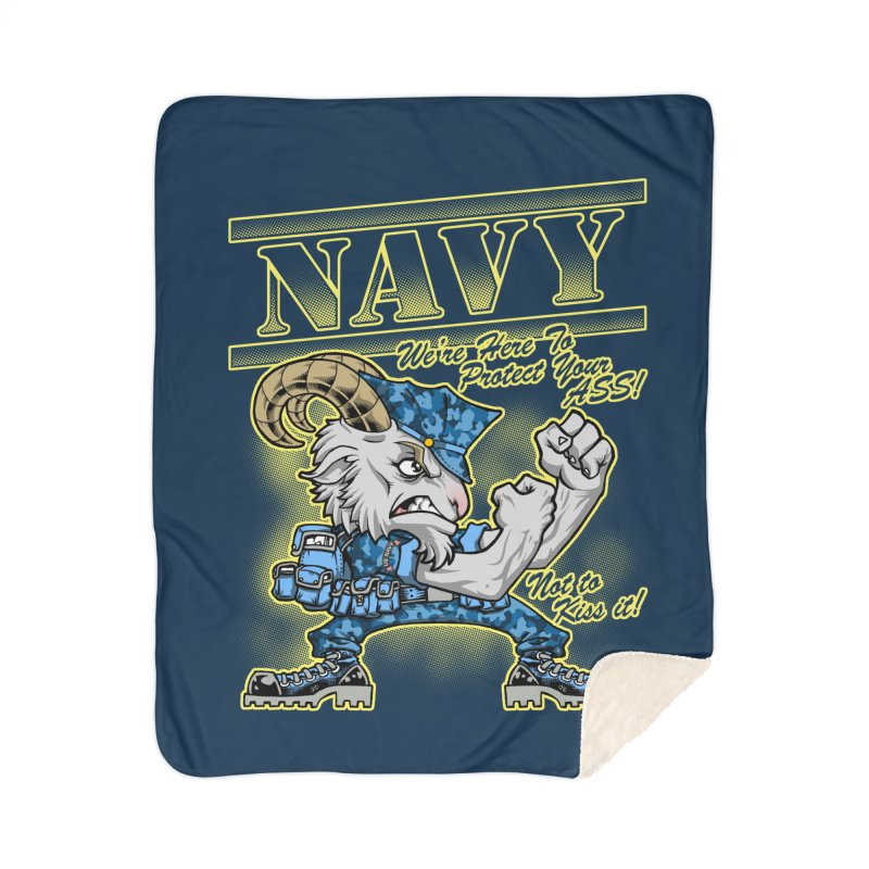 NAVY GOAT! Home Sherpa Blanket Blanket by Inkdwell's Artist Shop