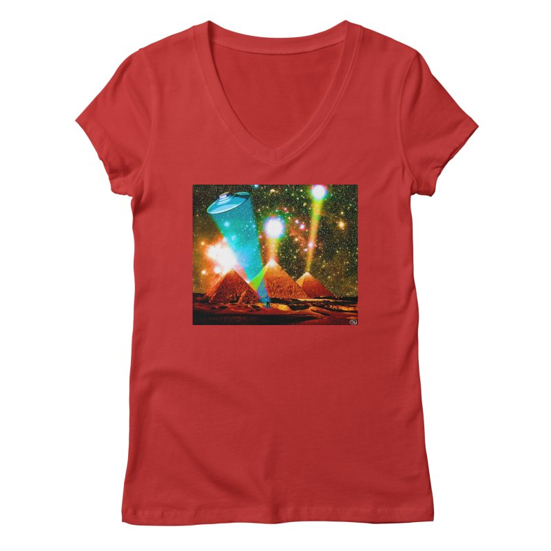 The Pyramids of Giza Aligning with Orion's Belt Women's Regular V-Neck by InspiredPsychedelics's Artist Shop