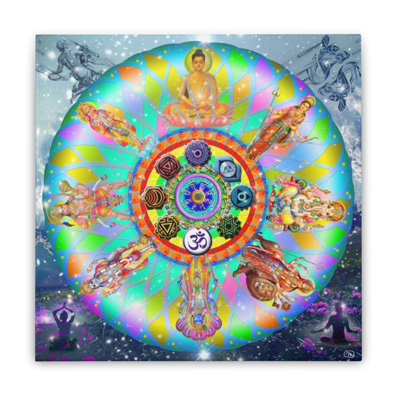 Hindu Mandala Wall Art Home Stretched Canvas by InspiredPsychedelics's Artist Shop