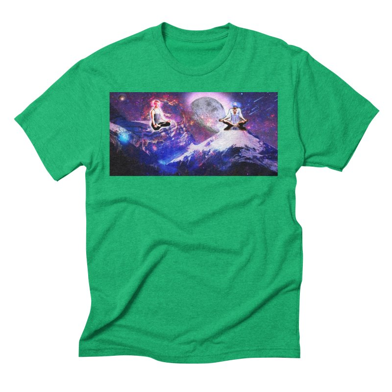 Meditation on the Mountain with Universe Men's Triblend T-Shirt by InspiredPsychedelics's Artist Shop