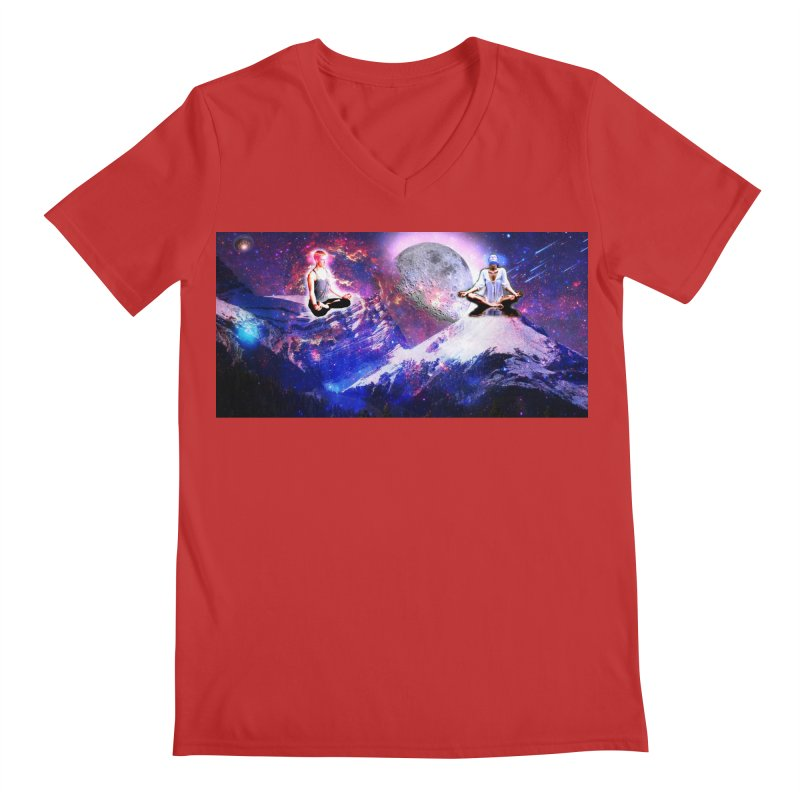 Meditation on the Mountain with Universe Men's Regular V-Neck by InspiredPsychedelics's Artist Shop