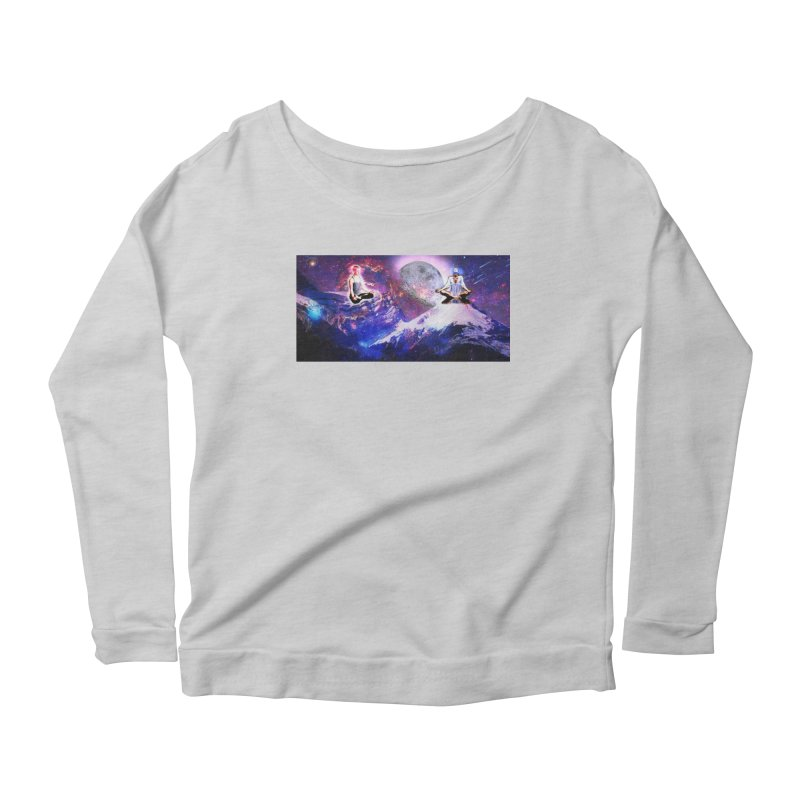 Meditation on the Mountain with Universe Women's Scoop Neck Longsleeve T-Shirt by InspiredPsychedelics's Artist Shop