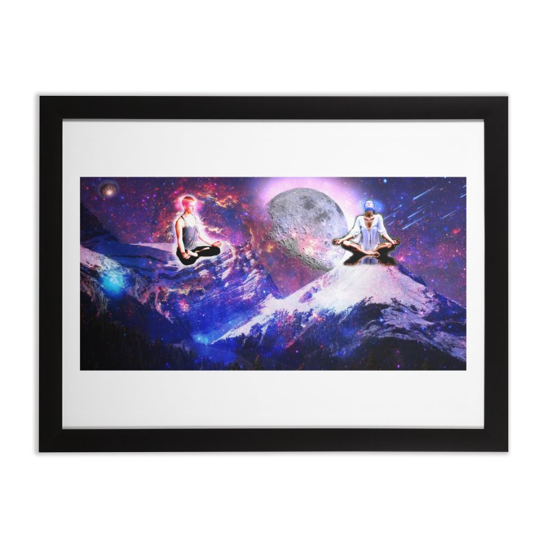 Meditation on the Mountain with Universe Home Framed Fine Art Print by InspiredPsychedelics's Artist Shop
