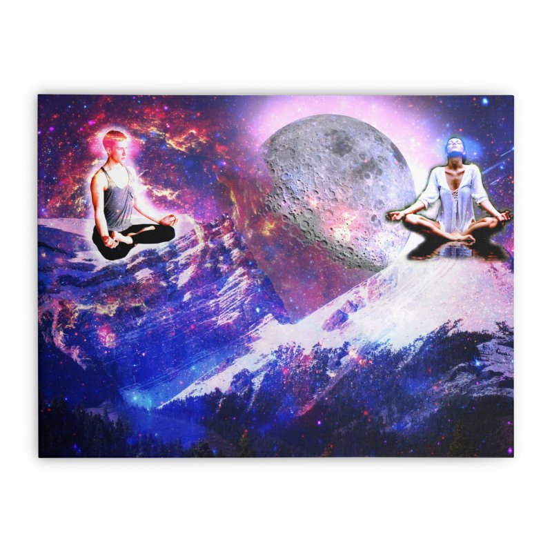 Meditation on the Mountain with Universe Home Stretched Canvas by InspiredPsychedelics's Artist Shop