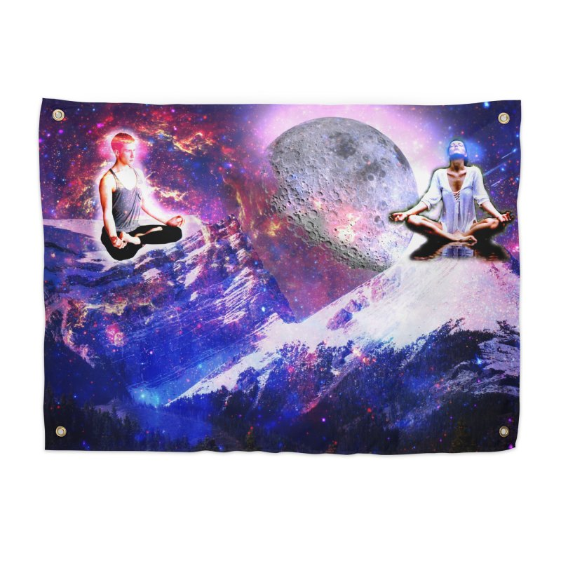 Meditation on the Mountain with Universe Home Tapestry by InspiredPsychedelics's Artist Shop