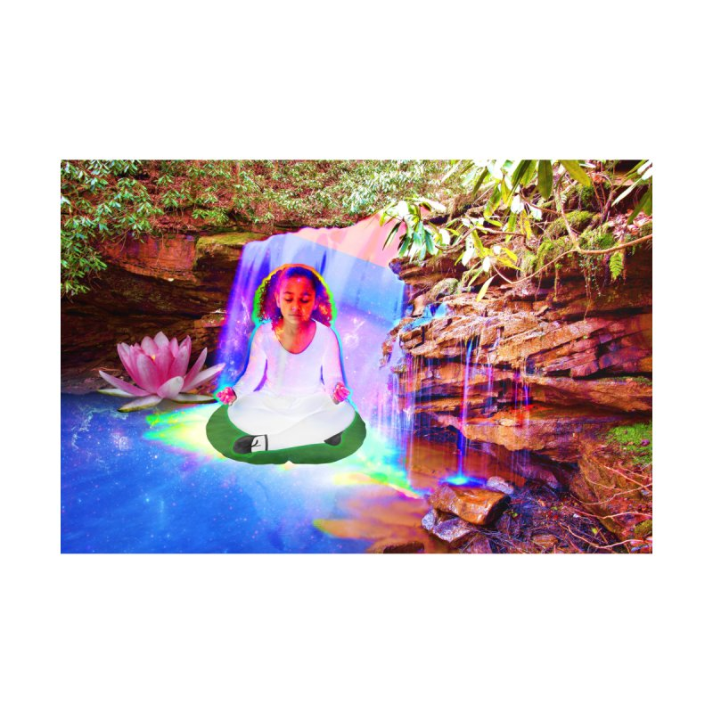 Young Girl Meditating Under a Waterfall by InspiredPsychedelics's Artist Shop