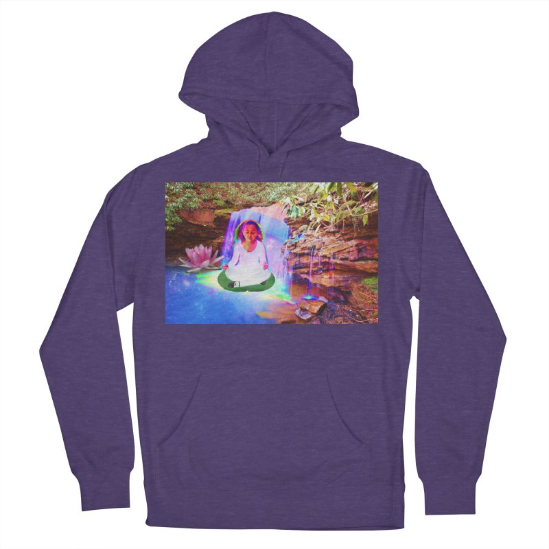 Young Girl Meditating Under a Waterfall Women's French Terry Pullover Hoody by InspiredPsychedelics's Artist Shop