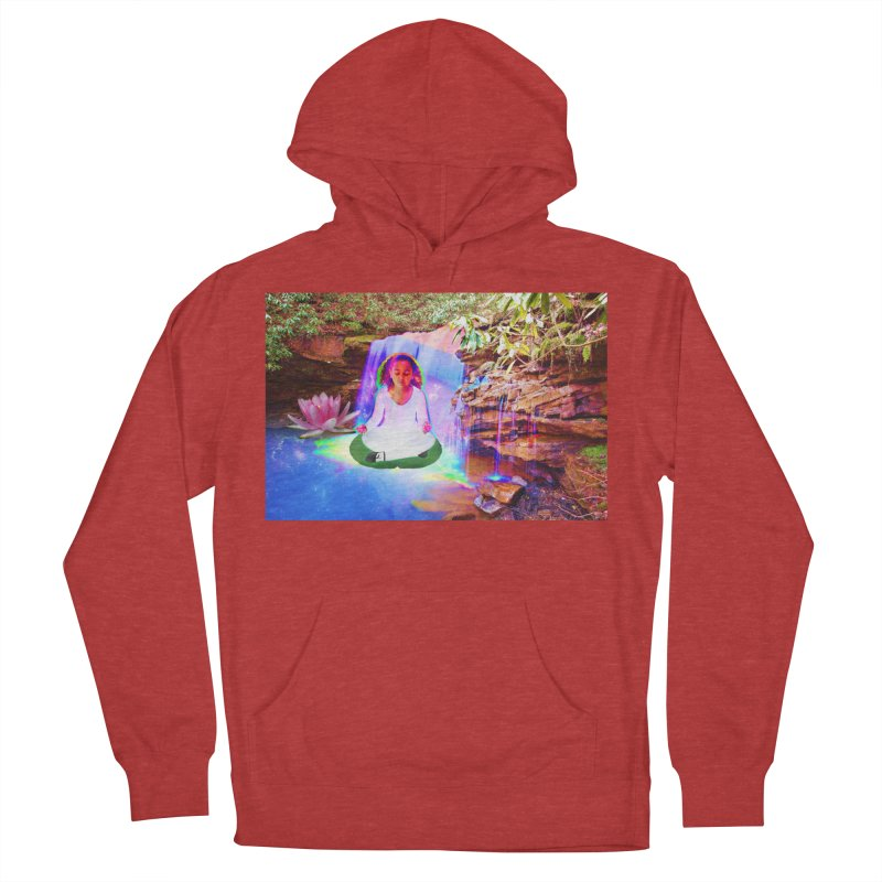 Young Girl Meditating Under a Waterfall Men's French Terry Pullover Hoody by InspiredPsychedelics's Artist Shop