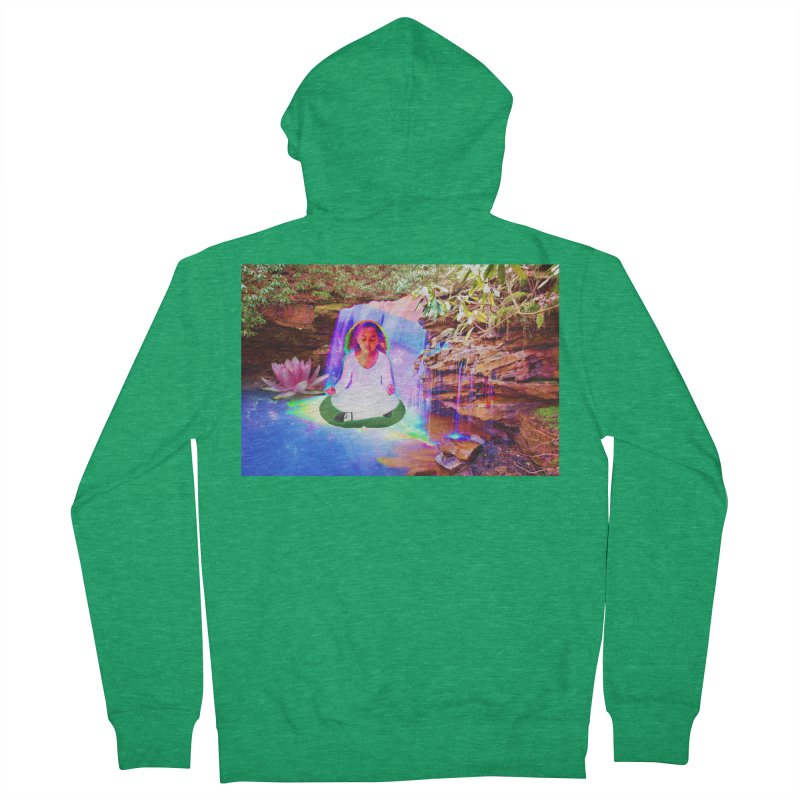 Young Girl Meditating Under a Waterfall Women's French Terry Zip-Up Hoody by InspiredPsychedelics's Artist Shop