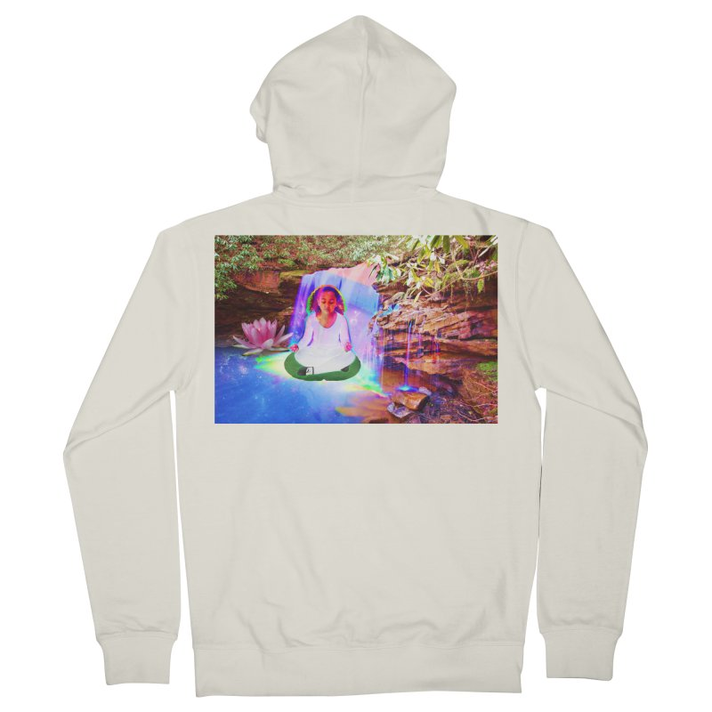 Young Girl Meditating Under a Waterfall Men's French Terry Zip-Up Hoody by InspiredPsychedelics's Artist Shop