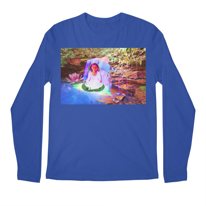 Young Girl Meditating Under a Waterfall Men's Regular Longsleeve T-Shirt by InspiredPsychedelics's Artist Shop