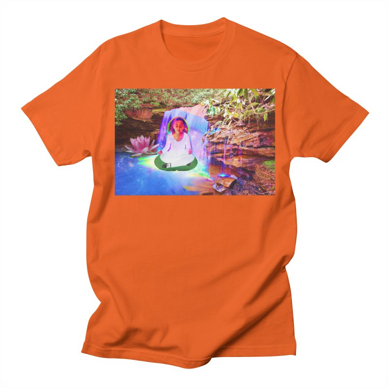 Young Girl Meditating Under a Waterfall Men's Regular T-Shirt by InspiredPsychedelics's Artist Shop