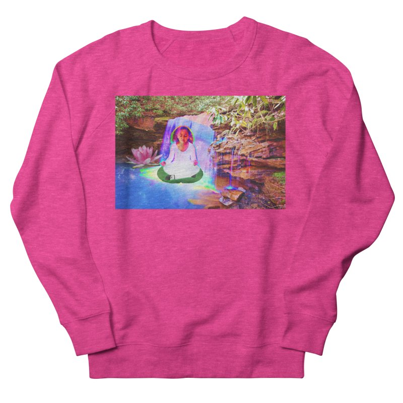 Young Girl Meditating Under a Waterfall Men's French Terry Sweatshirt by InspiredPsychedelics's Artist Shop