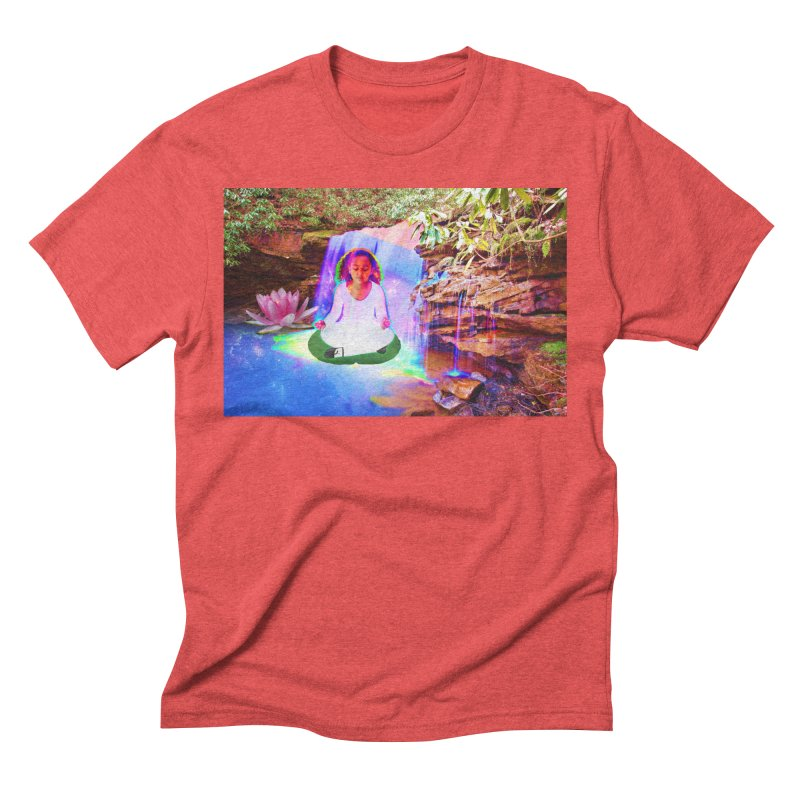 Young Girl Meditating Under a Waterfall Men's Triblend T-Shirt by InspiredPsychedelics's Artist Shop
