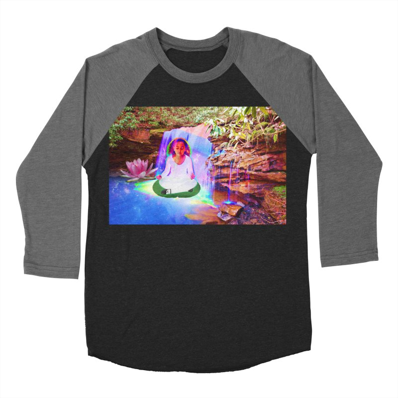 Young Girl Meditating Under a Waterfall Men's Baseball Triblend Longsleeve T-Shirt by InspiredPsychedelics's Artist Shop