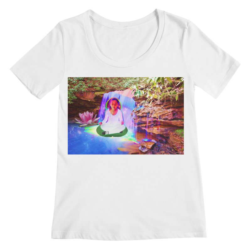 Young Girl Meditating Under a Waterfall Women's Regular Scoop Neck by InspiredPsychedelics's Artist Shop