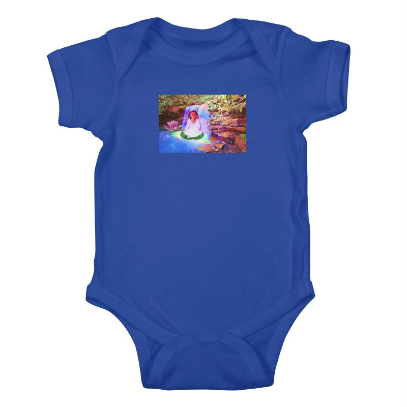 Young Girl Meditating Under a Waterfall Kids Baby Bodysuit by InspiredPsychedelics's Artist Shop