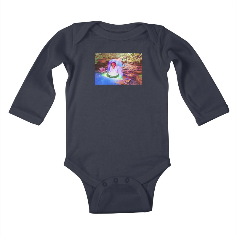 Young Girl Meditating Under a Waterfall Kids Baby Longsleeve Bodysuit by InspiredPsychedelics's Artist Shop