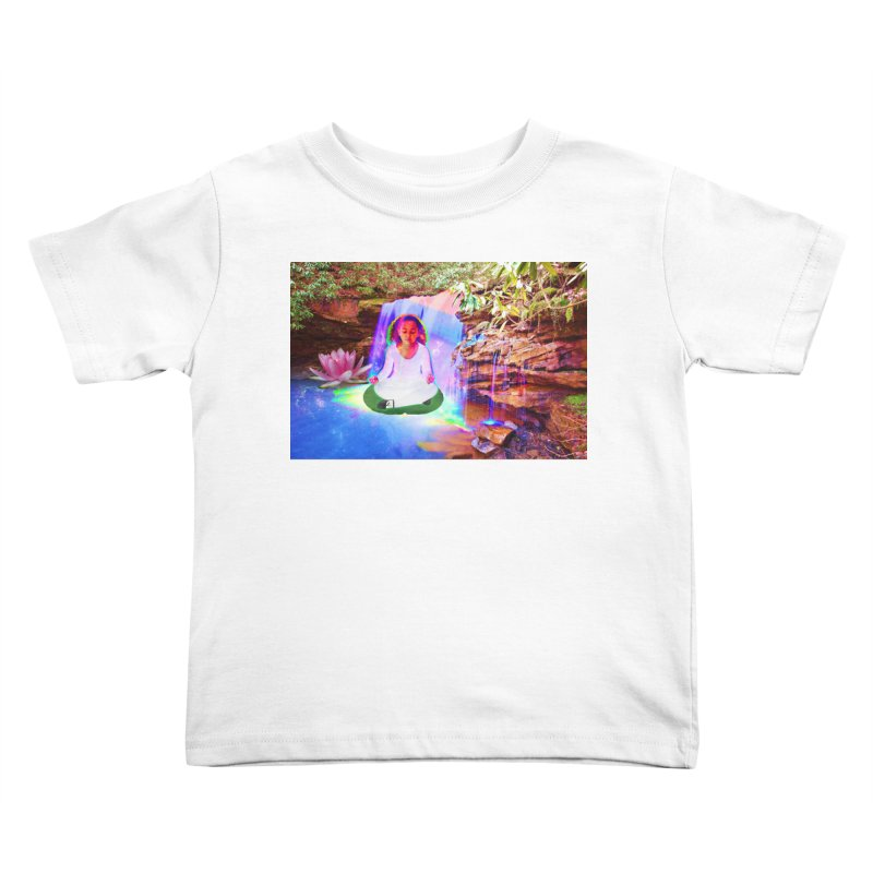 Young Girl Meditating Under a Waterfall Kids Toddler T-Shirt by InspiredPsychedelics's Artist Shop