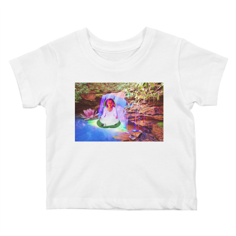 Young Girl Meditating Under a Waterfall Kids Baby T-Shirt by InspiredPsychedelics's Artist Shop