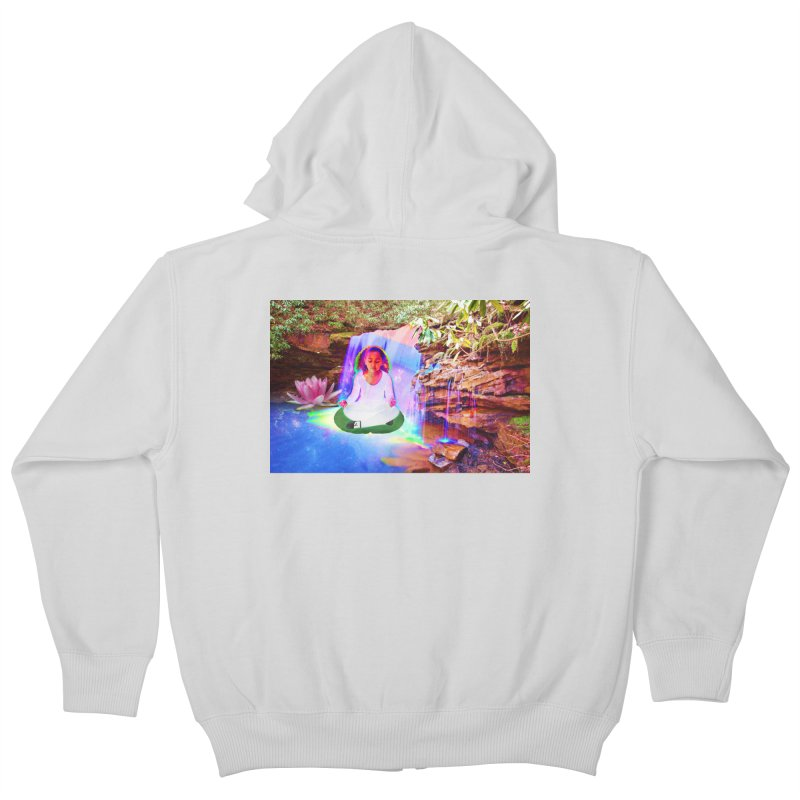 Young Girl Meditating Under a Waterfall Kids Zip-Up Hoody by InspiredPsychedelics's Artist Shop