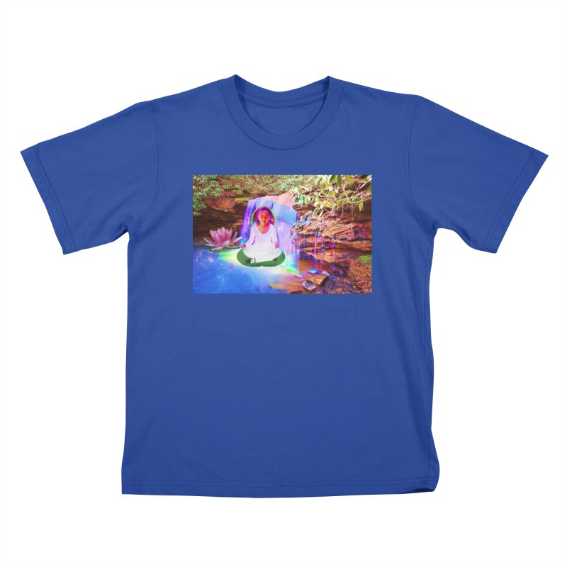 Young Girl Meditating Under a Waterfall Kids T-Shirt by InspiredPsychedelics's Artist Shop