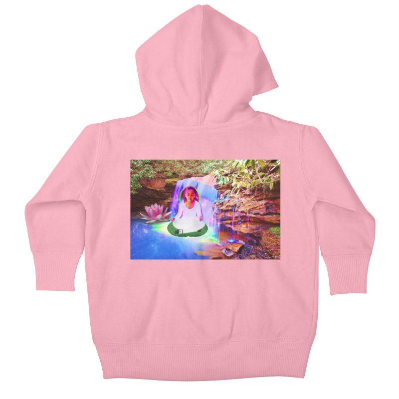 Young Girl Meditating Under a Waterfall Kids Baby Zip-Up Hoody by InspiredPsychedelics's Artist Shop