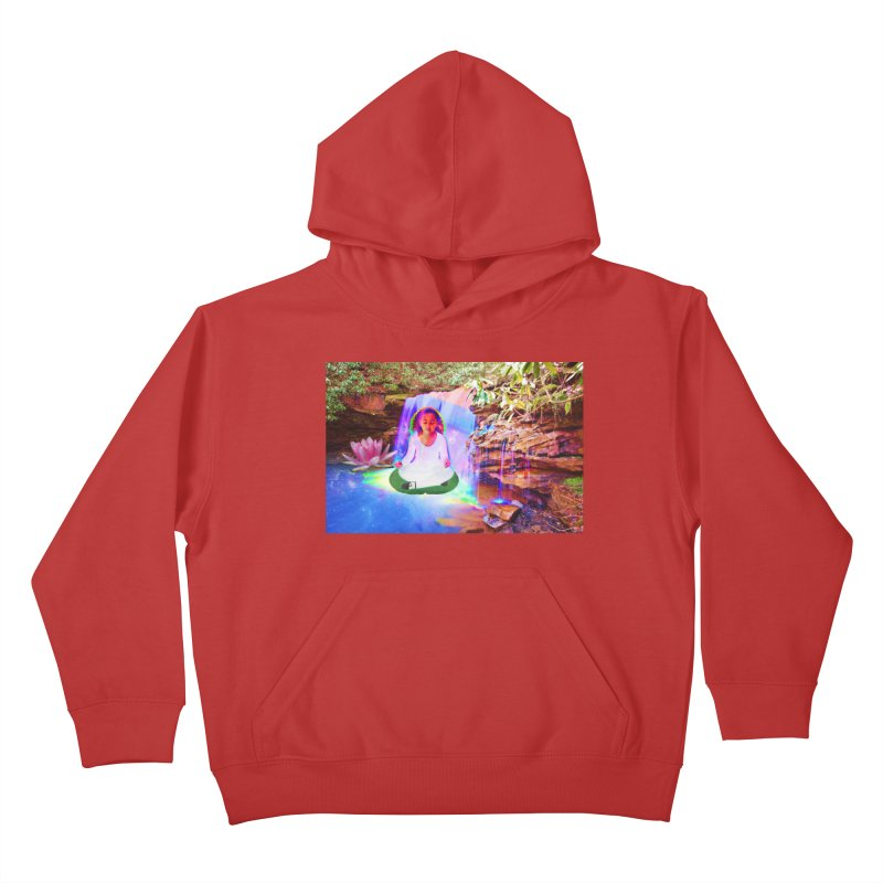 Young Girl Meditating Under a Waterfall Kids Pullover Hoody by InspiredPsychedelics's Artist Shop