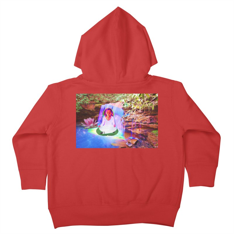 Young Girl Meditating Under a Waterfall Kids Toddler Zip-Up Hoody by InspiredPsychedelics's Artist Shop