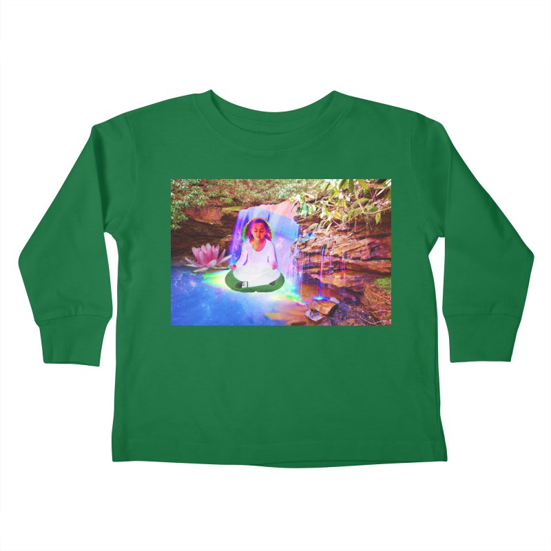 Young Girl Meditating Under a Waterfall Kids Toddler Longsleeve T-Shirt by InspiredPsychedelics's Artist Shop