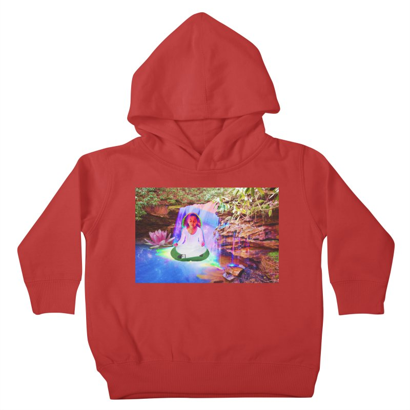 Young Girl Meditating Under a Waterfall Kids Toddler Pullover Hoody by InspiredPsychedelics's Artist Shop