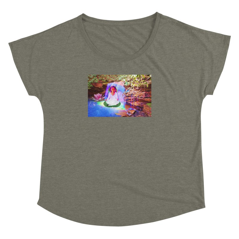 Young Girl Meditating Under a Waterfall Women's Dolman Scoop Neck by InspiredPsychedelics's Artist Shop