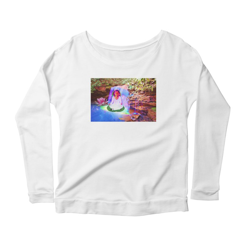 Young Girl Meditating Under a Waterfall Women's Scoop Neck Longsleeve T-Shirt by InspiredPsychedelics's Artist Shop