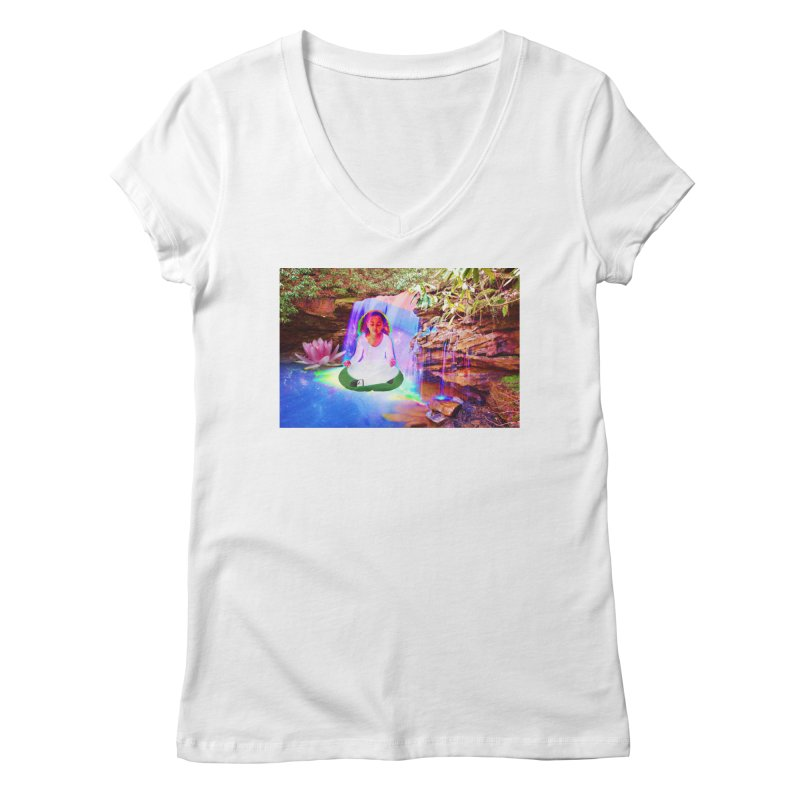 Young Girl Meditating Under a Waterfall Women's Regular V-Neck by InspiredPsychedelics's Artist Shop