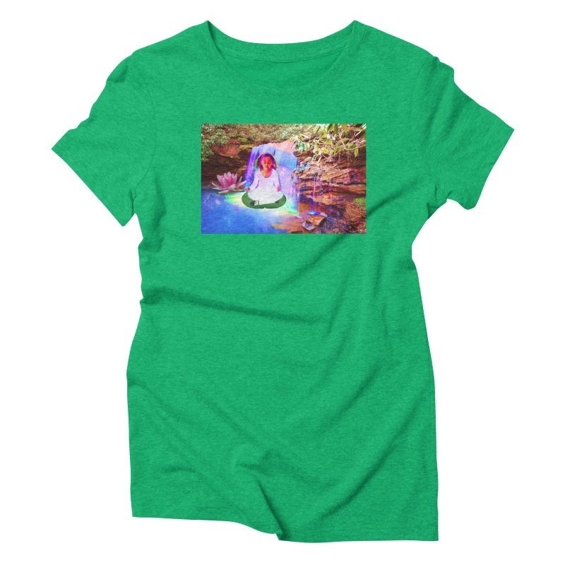 Young Girl Meditating Under a Waterfall Women's Triblend T-Shirt by InspiredPsychedelics's Artist Shop
