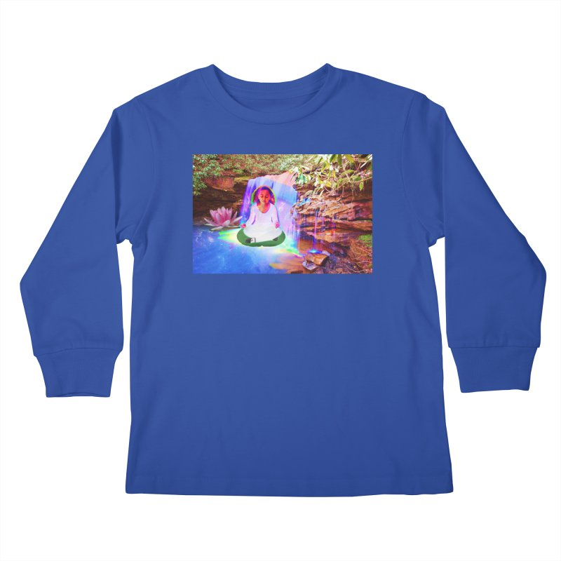 Young Girl Meditating Under a Waterfall Kids Longsleeve T-Shirt by InspiredPsychedelics's Artist Shop